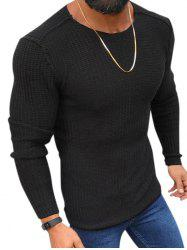 Plain Purl Knit Pullover Sweater -