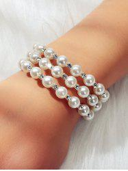 Faux Pearl Layered Stretchable Bangle -