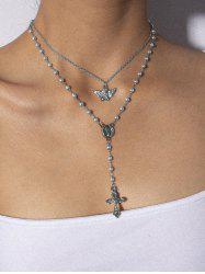 Angel Cross Double Layer Faux Pearl Necklace -