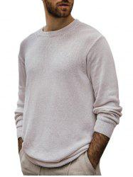 Solid Color Crew Neck Pullover Knitwear -