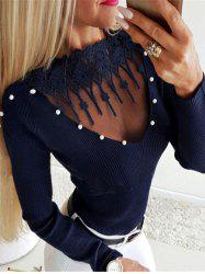 Ribbed Beading Embellished Lace Insert Knitwear -