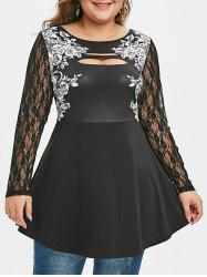 Plus Size Floral Print Ripped Lace Sleeve T Shirt -
