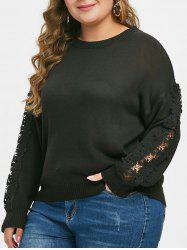 Plus Size Applique Drop Shoulder Sweater -