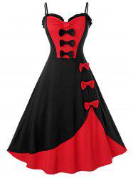 Plus Size Vintage bowknot Colorblock Pin Up Robe - Rouge 2X