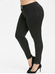 Plus Size High Rise D Bague Dentelle Leggings Hem -