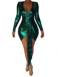 Sparkly Drape Front Plunging Bodycon Dress -