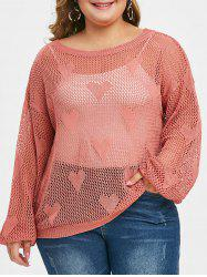 Plus Size Heart Pattern Openwork Sweater -