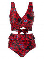Plus Size Floral Printed Tankini Swimsuit -