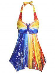 Halter Handkerchief Ombre Color Tankini Swimsuit -