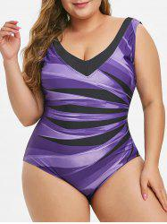 Plus Size V Neck Striped One-piece Swimsuit -