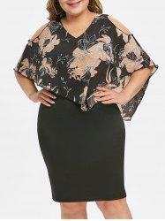 Side Zipper Floral Overlay Plus Size Bodycon Dress -