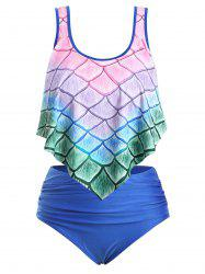 Plus Size Ombre Mermaid Print Overlay Tankini Swimsuit -
