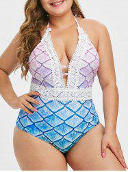 Plus Size Plunge Ombre Mermaid One-piece Swimsuit -