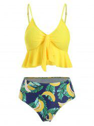 Banana Leaves Knotted Padded Tankini Set -