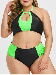 Plus Size Two Tone Keyhole High Rise Bikini Swimsuit -
