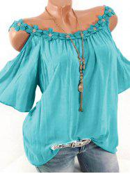 Plus Size Lace Applique Open Shoulder T Shirt -