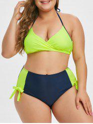 Plus Size Colorblock Knotted Wrap Bikini Set -