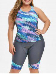 Plus Size Printed Racerback Two Piece Swimsuit -
