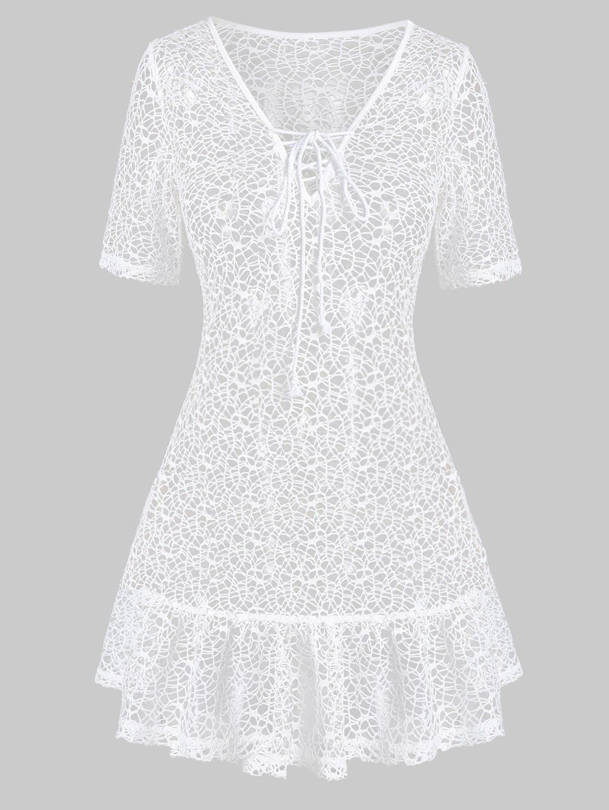 Online Lace Up Drop Waist Sheer Cover Up Dress