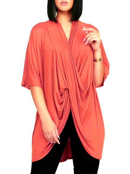 Chic Cross Front Drape Batwing Sleeve Loose T-shirt