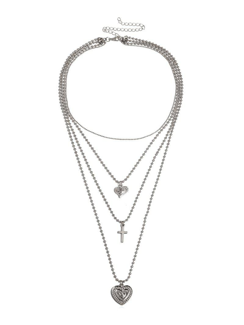 Discount Multilayered Heart Cross Beaded Chain Necklace