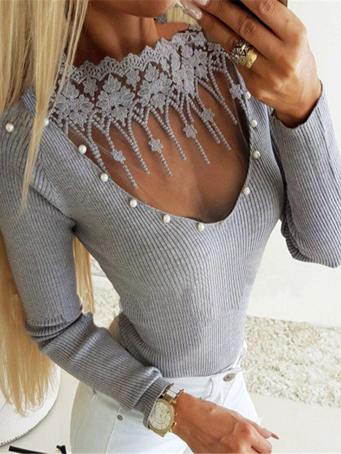 Outfits Ribbed Beading Embellished Lace Insert Knitwear