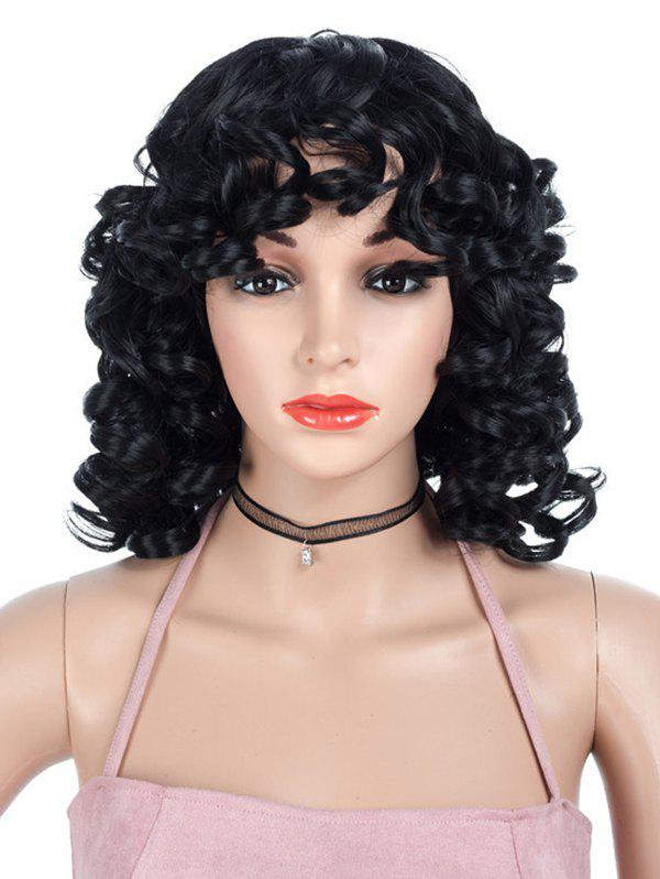 Discount Medium Side Bang Curly Synthetic Capless Wig