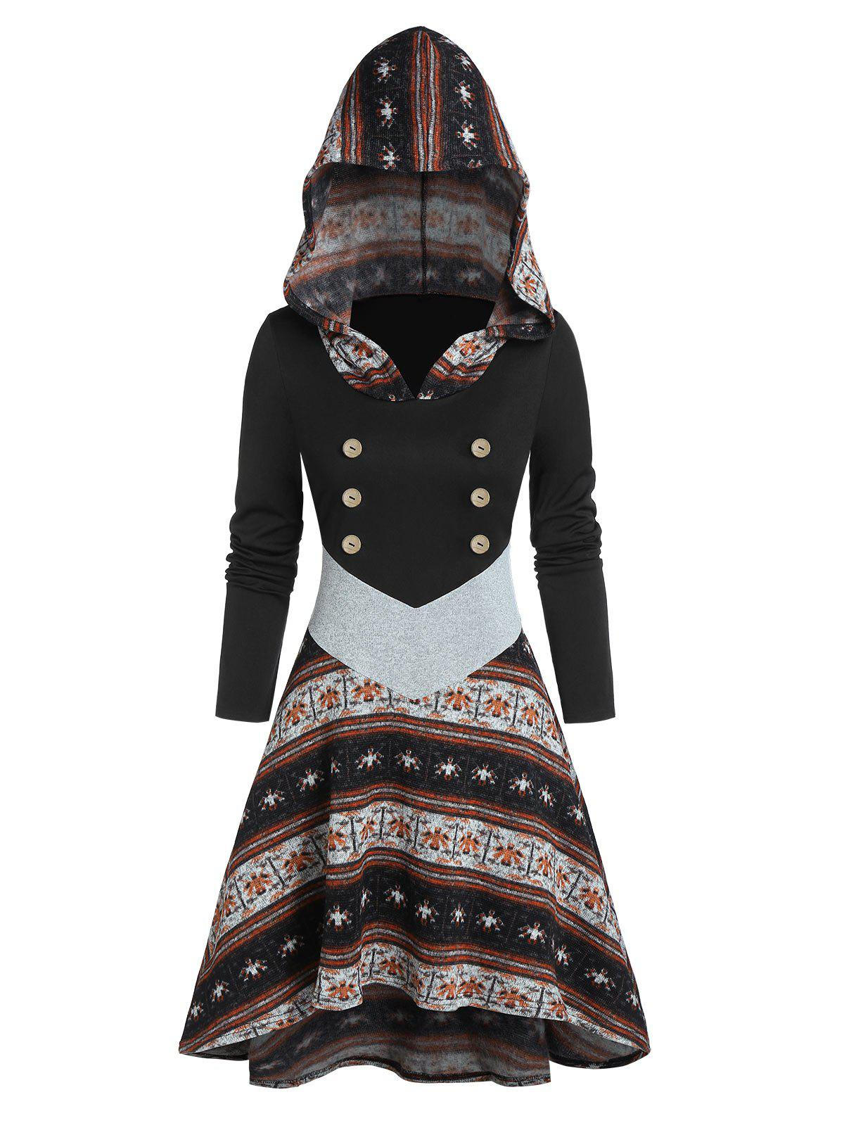 Chic Printed Button High Low Hooded Dress