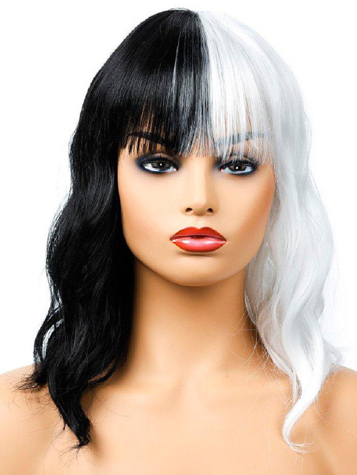 Outfits Medium Full Bang Two Tone Wavy Synthetic Wig