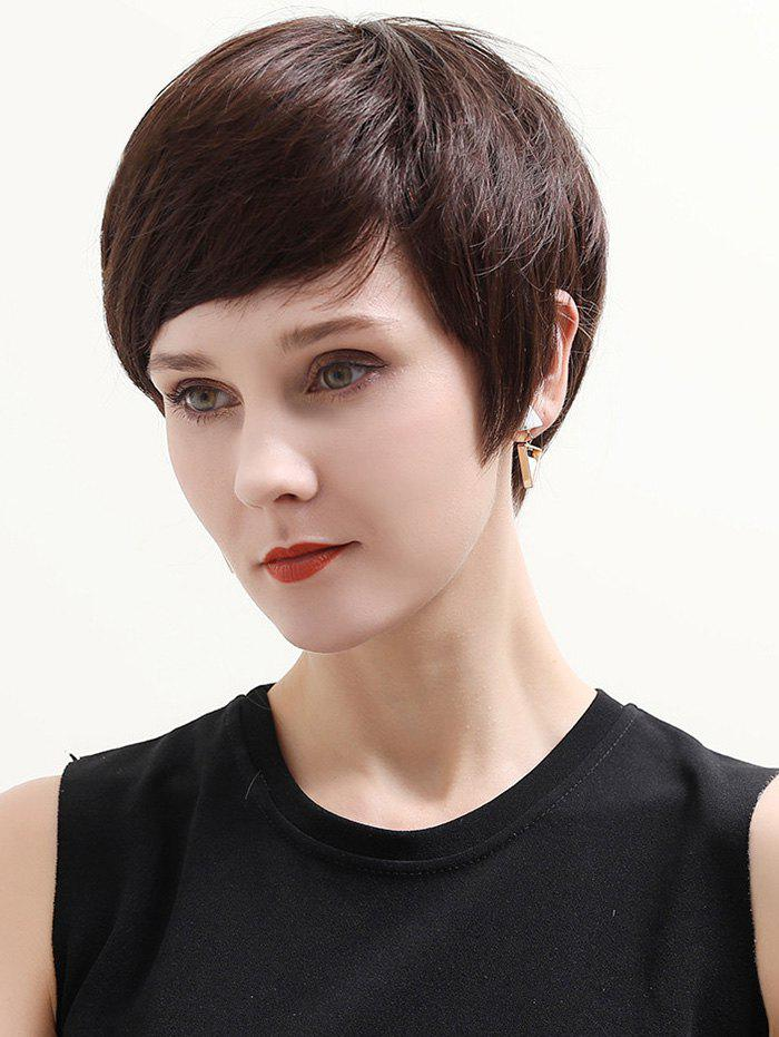 Online Short Inclined Bang Straight Human Hair Lace Front Wig