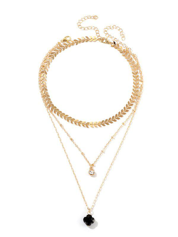 Trendy Flower Arrow Chain Multilayered Necklace