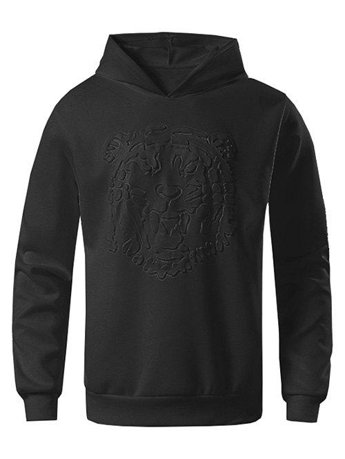 Chic Tiger Embossed Solid Color Sweatshirt