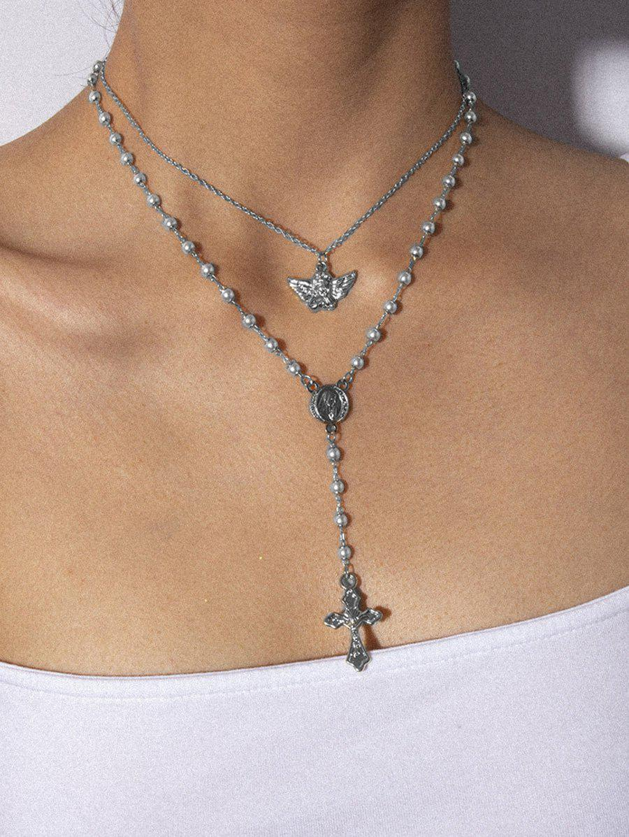 Hot Angel Cross Double Layer Faux Pearl Necklace