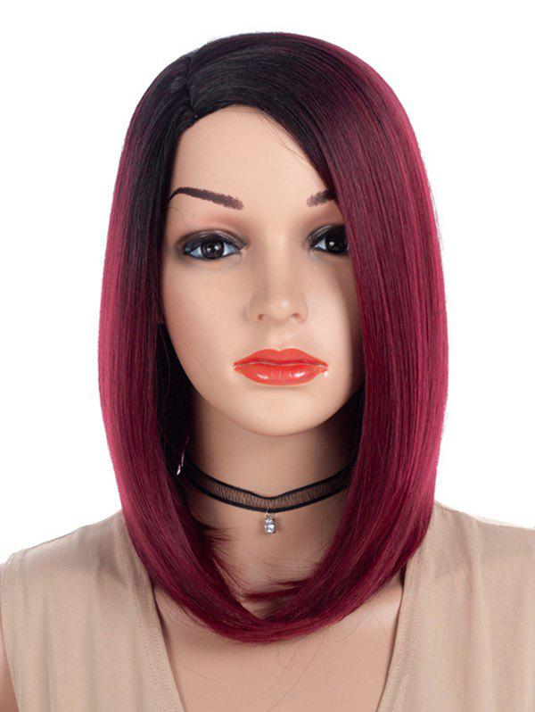 Trendy Side Parting Ombre Straight Medium Bob Synthetic Wig
