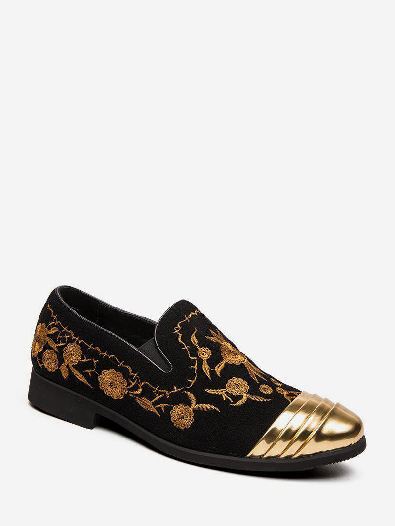 Fashion Floral Embroidery Slip On Business Shoes