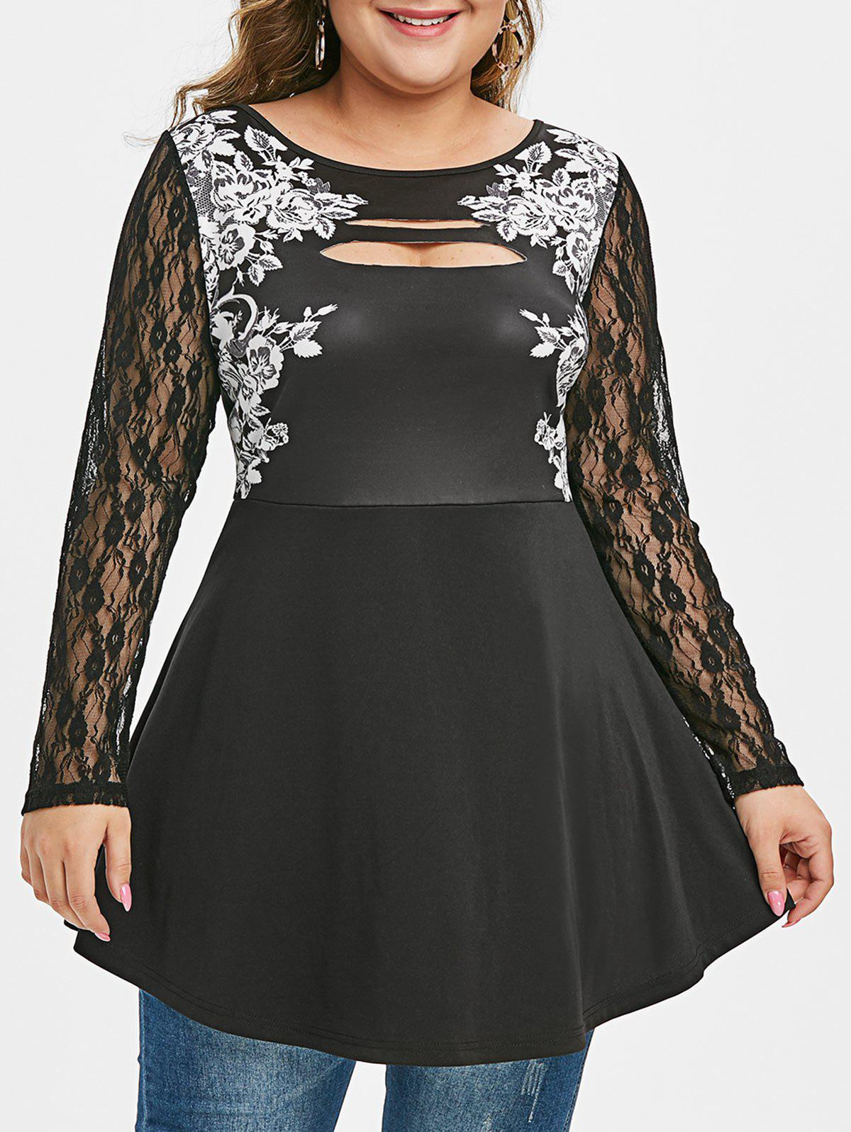 Shops Plus Size Floral Print Ripped Lace Sleeve T Shirt