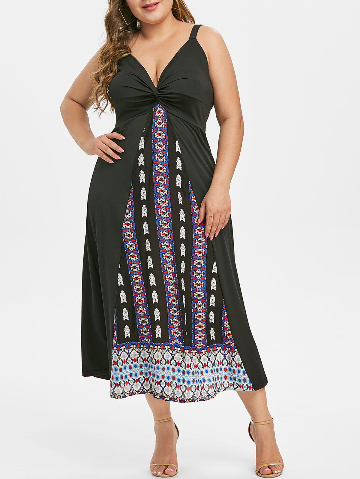 Chic Sleeveless Twisted Front Printed Plus Size Dress