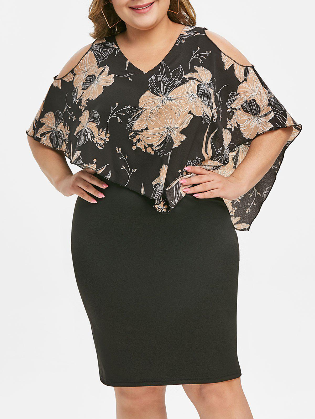 New Side Zipper Floral Overlay Plus Size Bodycon Dress