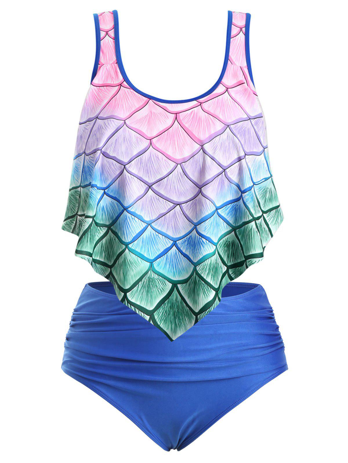 Online Plus Size Ombre Mermaid Print Overlay Tankini Swimsuit