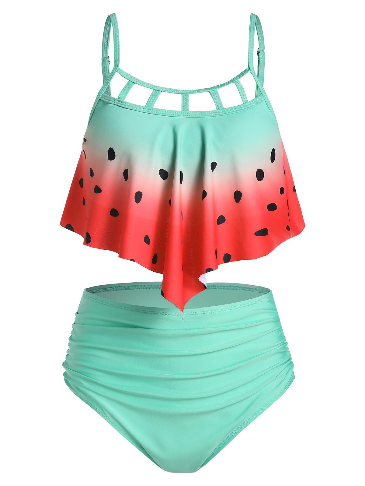 Watermelon Print Cut Out Pointed Hem Tankini Swimwear фото