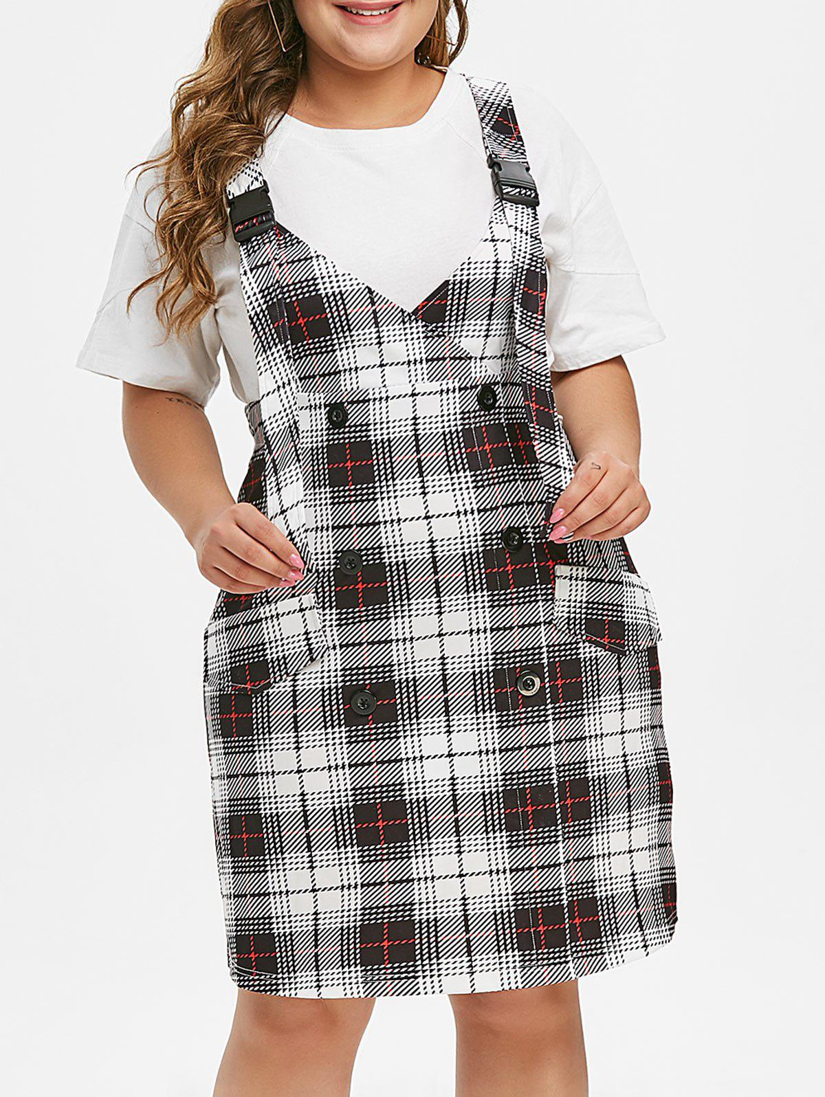 Affordable Plus Size Buckle Plaid Pinafore Dress