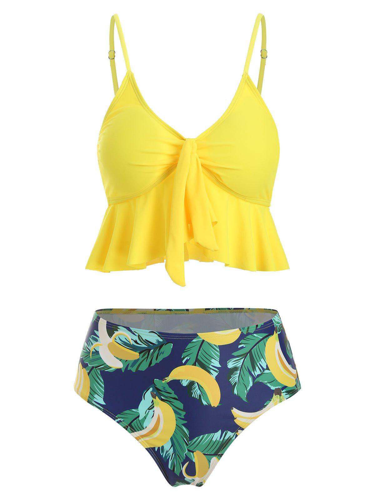 Buy Banana Leaves Knotted Padded Tankini Set