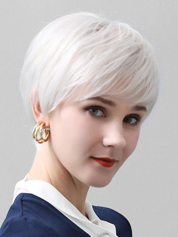 Fancy Lace Front Side Bang Straight Short Human Hair Wig