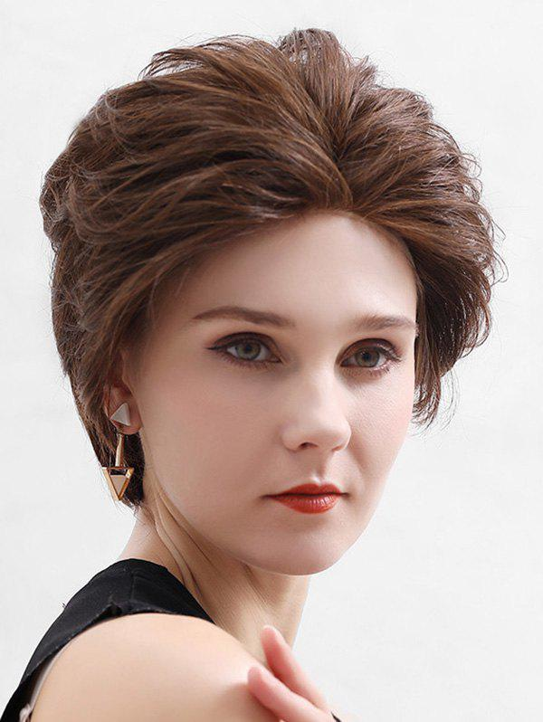Unique Straight Human Hair Lace Front Short Fluffy Wig