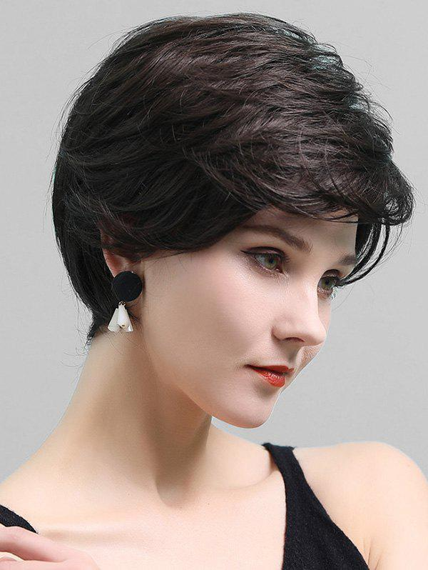 Online Side Part Short Layered Straight Human Hair Lace Front Wig