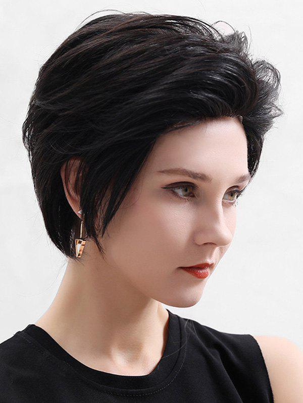 Store Human Hair Fluffy Short Straight Lace Front Wig