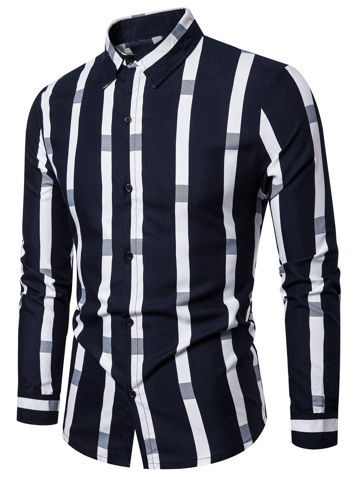 Latest Striped Pattern Button Long-sleeved Shirt