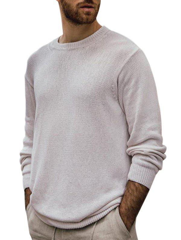 Sale Solid Color Crew Neck Pullover Knitwear