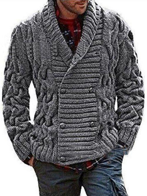 Online Shawl Collar Double Breasted Twist Knit Cardigan