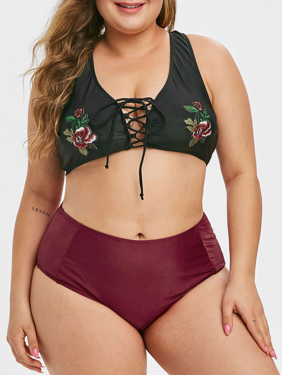 Plus Size Lace Up Embroidered Bikini Swimsuit фото